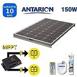 PAN150W2BATMPPT - KIT Panneau Solaire pour Camping Car 150W ANTARION + RÉGULATEUR MPPT Double Batterie