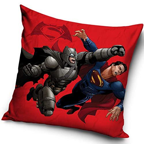 Juego de cojines decorativos de Batman vs Superman 16-2006, 40 x 40 cm, color azul, rojo, gris y negro