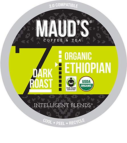 Maud's Organic Ethiopian Coffee (Dark Roast Coffee), 24ct. Recyclable Single Serve Fair Trade Single Origin Organic Ethiopian Coffee Pods - 100% Arabica Coffee, Ethiopian Coffee K Cups Compatible
