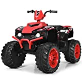 Costzon Kids ATV, 12V Battery Powered Electric Vehicle w/ LED Lights, High & Low Speed, Horn, Music, Radio, USB, Treaded Tires, Ride on Car 4 Wheeler Quad for Boys & Girls Gift, Ride on ATV (Red)