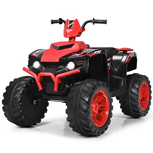 Costzon Ride on ATV, 12V Battery Powered Electric Vehicle w/ LED Lights, High &Low Speed, Horn, Radio, USB, Rear Wheel Motorized Ride on 4 Wheeler Quad Car for Boys Girls (Red)