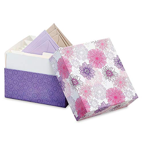 Lavender Blooms Greeting Card Organizer Box - Stores 140+ Cards (not Included). 7' x 9' x 9-1/2'