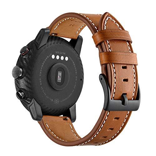 AISPORTS Correa de reloj de liberación rápida de 20 mm, compatible con Amazfit GTS 2/GTS 2e/GTS Correa de piel para mujeres y hombres, correa de repuesto para Amazfit Bip/Bip Lite/GTR 42 mm
