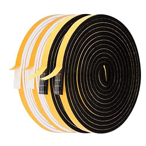Weather Stripping for Doors-4 Rolls, 1/4 Inch Wide X 1/8 Inch Thick Total 52 Feet Long, High Density Adhesive Foam Tape Window Insulation Gasket Tape (13ft x 2 Rolls Black+13ft x 2 Rolls White)