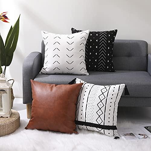 KKY Boho - Juego de 4 fundas de almohada decorativas de 45,7 x 45,7 cm, diseño moderno de rayas geométricas y cuero artificial, se utiliza para el sofá o la cama. (Multi 4 piezas, cuadrado 45,7 x 45,7 cm)