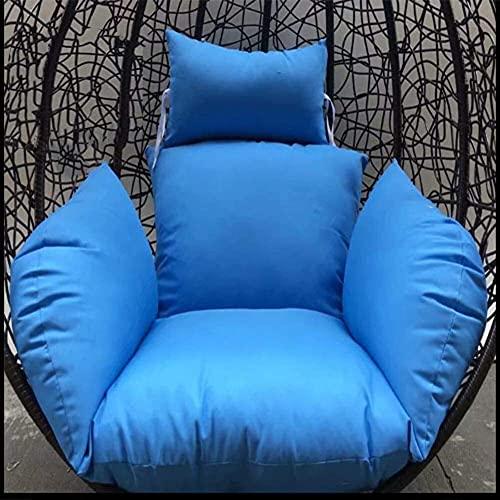 FHISD Cojín colgante para silla, hamaca con asiento de nido de pájaro, acolchado de poliéster, mimbre, cesta de mimbre con almohada para patio al aire libre, color marrón claro, color: rojo (azul)