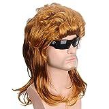 DER Parrucche Corte Capelli d'oro Parrucche Sintetiche Onda Naturale Parrucca Marrone Scuro for Uomo USA Punk Acconciatura Moda Popolare Cantante Toupee (Stretched Length : 16inches)