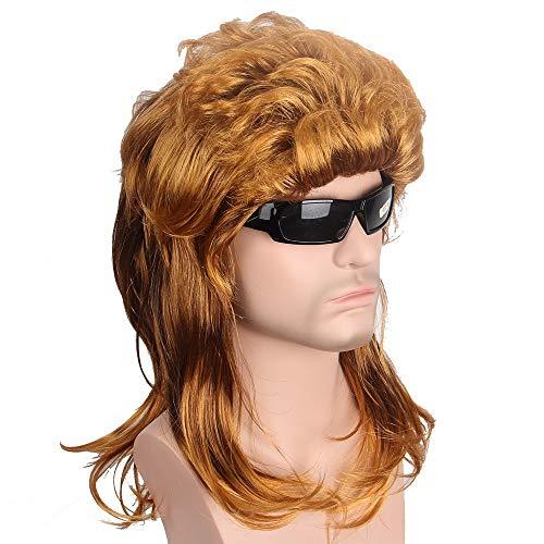 der Perruques Courtes Cheveux Or Synthétiques Perruques Vague Naturelle Brun Foncé Perruque for Hommes USA Punk Coiffure Mode Populaire Chanteur Toupee (Stretched Length : 16inches)