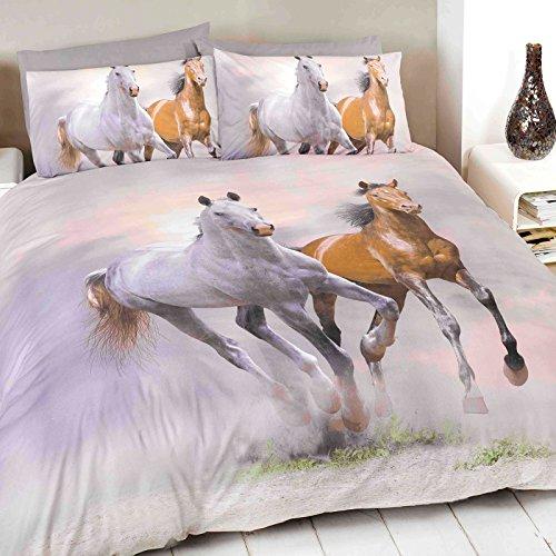 Just Contempo - Copripiumino singolo trapuntato con stampa fotografica di cavalli, colore: Grigio, panna, beige e marrone, Cotone, (da ragazza da bambini)