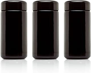 Infinity Jars 100 ml (3.3 fl oz) 3-Pack Tall Black Ultraviolet Refillable Empty Glass Screw Top Jar
