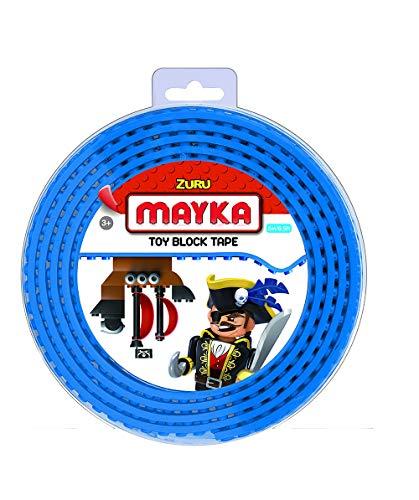MAYKA Spielsteinklebeband für Lego K´Nex und Megablocks, Lego Klebeband, 2m lang, 4 Noppen, Blau