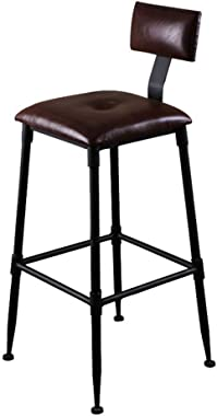 High Stool Barstools Iron Art Dining High Chair Vintage Rustic Pub Stool Kitchen Bar Industrial Style for Home/Counter/Breakfas - Retro Faux Leather Barstool