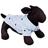 The Worthy Dog Gingham Check with Embroidered Blue Whales Pattern Designer Collared Fabulously Stylish Shirt for Dog & Cat, Casual Outfit, Fits Small, Medium and Large Dogs, Cats, Blue and White Color