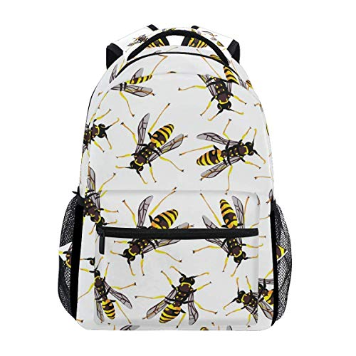Bag Bee Vector Nature School Casual College Lightweight Bookbag Backpack Stylish Shoulder Bag Durable Unique Travel Printed Gift Student