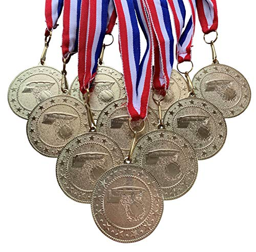 Gold Basketball Medals Trophy Award with Neck Ribbons. (Pack of 10)
