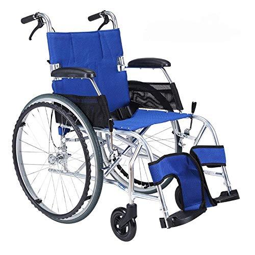 MJY Rollstuhl Klappbarer Leichter Rollstuhl Ultraleichtes kleines Rad Old Man Trolley Aviation Titan Aluminium Rollstuhl, B-Blau