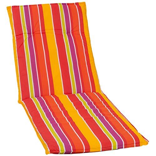 Beo Auflage Gartenliege UV-beständig Barcelona | Made in EU nach Öko-Tex Standard | Waschbare Auflage Liege mit Halteband | Atmungsaktive Sonnenliege Auflage mit Streifen in Orange-Gelb