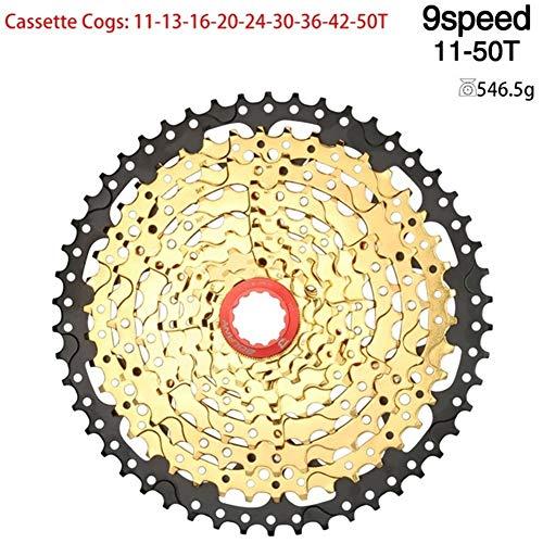 KDHJY Bike Cassette MTB Bicicletta Ruota Libera 8 9 10 11 40 42 46 velocità 50T volano Escursioni in Mountain Bike Cassetta Accessori (Color : 9Speed 11 50T Gold)