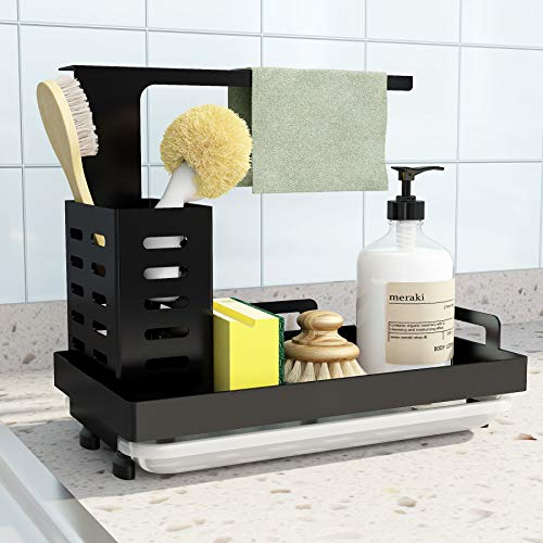 UPGRADED Sink Caddy Sink Sponge Holder Brush Soap Dishcloth Holder with Drain Pan Stainless Steel Caddy Organizer for Kitchen, Freestanding or Wall-Mounted (Black)