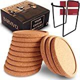 BARVIVO Natural Cork Coasters for Drinks with Holder Set of 12pcs - Ideal Drink Coasters for Wooden Table Stain and Scratch Protection - Perfect Rustic Coaster Set Fits Any Size of Modern Glasses