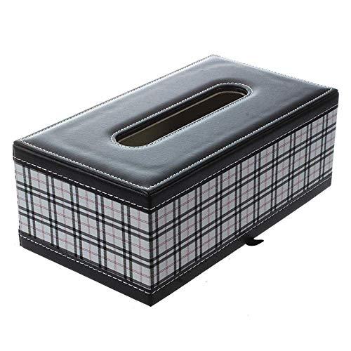 YASEking Tejido Caja de pañuelos de Almacenamiento Caja de dispensadores de Papel higiénico Caja de la PU del Grano del Tejido del Cuero Caja