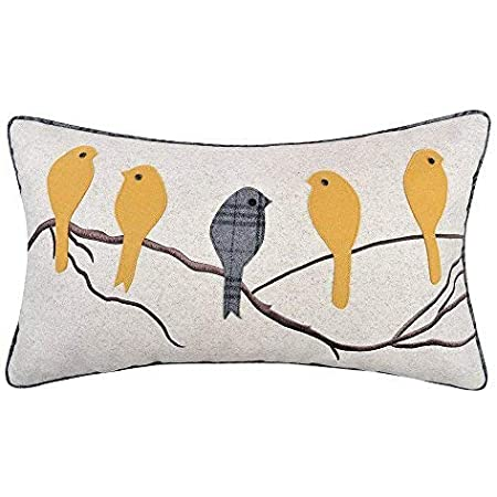 Amazon Com Jwh Birds Accent Pillow Case Applique Hand Emobroidery Cushion Cover Wool Decorative Pillowcase Home Sofa Car Bed Living Room Decor Sham Gift 14 X 24 Inch Mustard Birds With Gray Plaid