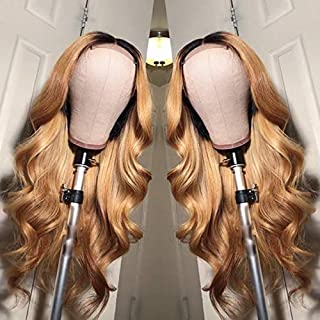 Ombre Brazilain Hair Body Wave Wig Two Tone 1B/27 Soft Hair 13x6 Lace Frontal Wigs with Baby Hair For Woman (18inch, 13x6 Lace Front Wig)