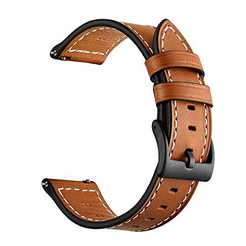Amitel para pulseira de couro Ticwatch Pro, 22mm Bandas de couro genuíno de substituição para engrenagem S3 (Palm)