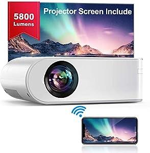 Proyector WiFi, YABER Mini Proyector Portátil 5800 Lúmenes 1080P Full HD[Pantalla de Proyector Incluida],Cine en Casa 200