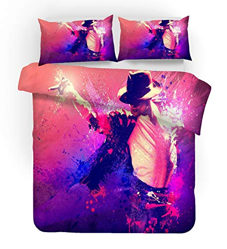 NYLIN Copripiumino Michael Jackson Set Musicista Musica Ballerino Arte 2/3/4PCS Copripiumini/Lenzuola/Federe,Singolo,Matrimoniale,Kingngolo,Matrimoniale,King (Singolo-140x210cm-3PCS,01)