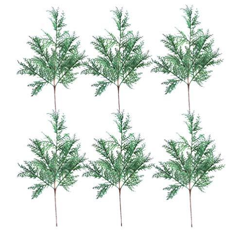 Amosfun künstliche tannenzweige zypressenblätter für Weihnachten zuhause Ornamente Kranz Kranz DIY Bouquet basteln Dekoration blumenschmuck 6 stück