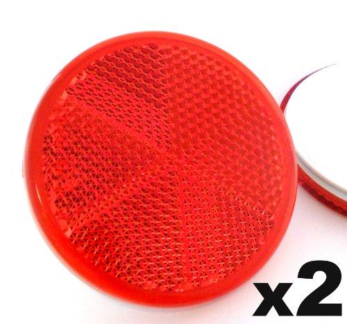 2x Rote Reflektoren 60mm - Rückstrahler Katzenaugen Rückleuchten Selbstklebend -Wohnwagen und Anhänger - Kostenloser Versand!