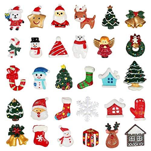Kesoto 30 pcs Christmas Tree Snow Deer Resin Flatback Album Flatback Scrapbooking Craft Embellishments