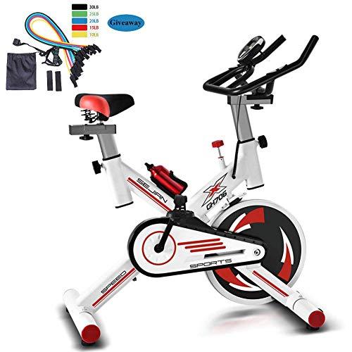 Bicicleta estática para casa, bicicleta profesional para interiores, ergómetro, bicicleta estática, bicicleta de fitness, bicicleta de velocidad, con transmisión por correa silenciosa, color blanco