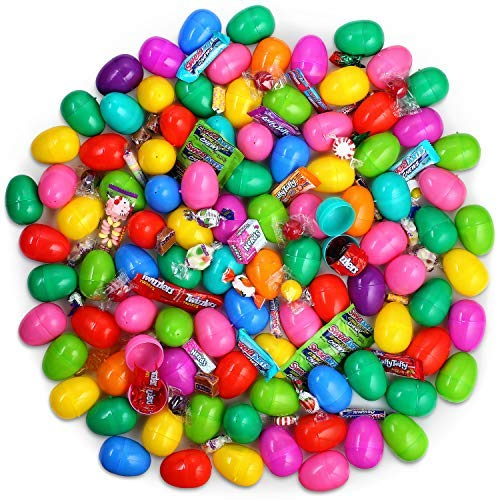 Plastic Filled Easter Eggs - Candy Easter Basket Stuffers For Boys Girls and Toddlers - Kids Pre Filled Easter Surprise Egg - Bulk Eggs Filled With Candy - Stuffed Eggs For Easter Egg Hunt - 100 Pack