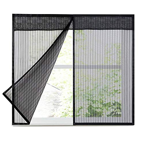 HTDG Raamhor, klittenband, insectenwerende hor, voor binnen, vliegengaas, weefsel van glasvezel, aluminium, zwart, groot vliegengaas, zonder boren