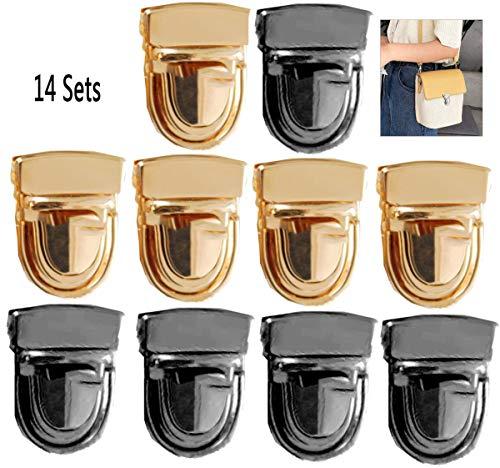 Biluer Eisen Geldbörse Push Lock Sets, 14PCS Steckschlösser Turn Lock Geldbörse für Leder Tasche Portemonnaie DIY Tasche Lock Zubehör(7 Gold + 7 Schwarz)