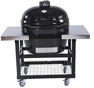 Primo Ceramic Charcoal Smoker Grill On Cart With Side Tables - Oval Xl