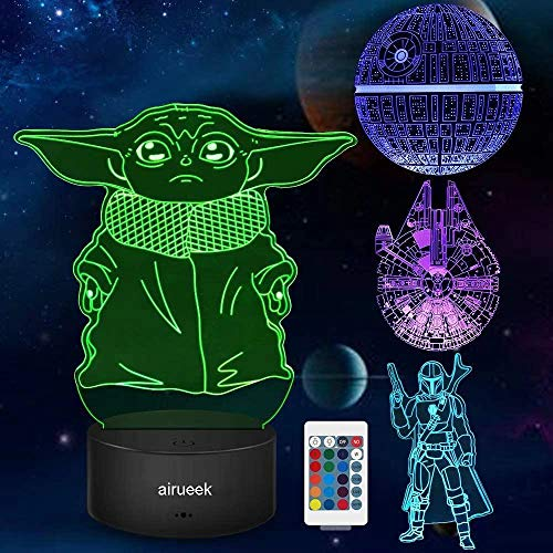 Star Wars Night Light Gift for Kids,3D Illusion with Four Pattern and 16 Colors Change Touch and Remote Control LED Table Desk Lamp Great Gifts for Star Wars Fans Mens Boys and Girls