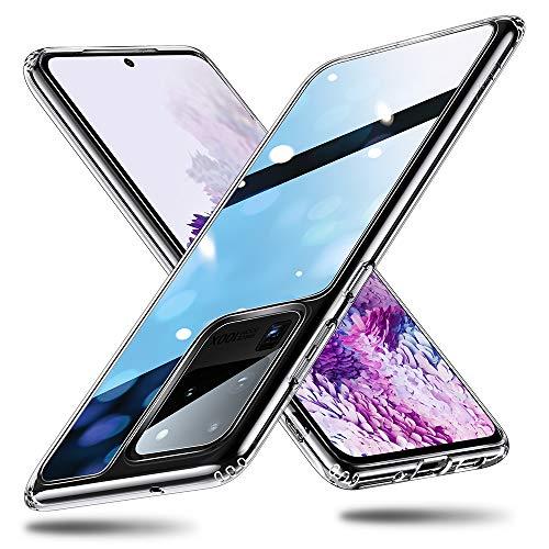 ESR Glas Hülle kompatibel mit Samsung Galaxy S20 Ultra – 9H Panzerglas Rückseite mit TPU Rahmen [Kristallklar] [Kratzresistent] [Weicher Bumper] Schutzhülle für Galaxy S20 Ultra - Klar
