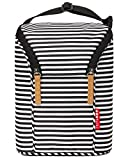 Skip Hop Insulated Breastmilk Cooler And Double Baby Bottle Bag, Black & White Stripe