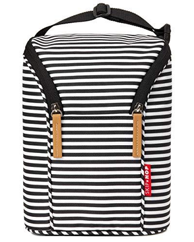 Skip Hop - Bolsa doble para botellas, color negro y blanco