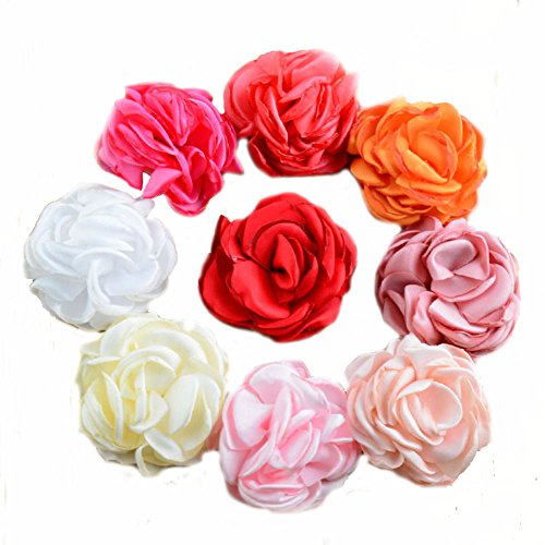 "BERON 9 Pieces 2"" Different Colors Handmade Satin Flowers for DIY Baby Flower Headband Girl Flower Accessories (AIH0115)"