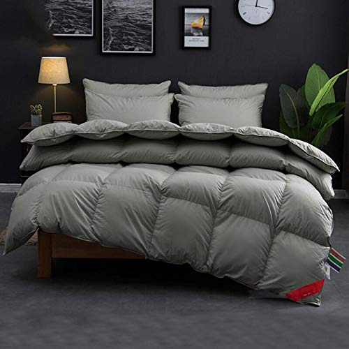 Luxurious Goose Down Feather Comforter All Season Duvet Insert Hypoallergenic Down Proof Fabric with Corner Tabs Premium Box-Stitch Design Gray,200×230cm