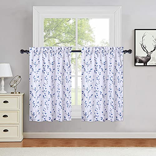 Haperlare Navy Blue Leaf Floral Cafe Curtains 36 Inches Length, Farmhouse Embossed Textured Rod Pocket Short Tier Curtains for Kitchen Tree Branch Pattern Window Treatment Decor Curtains, Set of 2