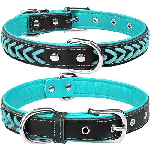 TagME Hundehalsband Leder für Mittlere Hunde,Geflochtenes, Weich Gepolstert Hundehalsbänder mit Doppelten D-Ringen,Türkis M