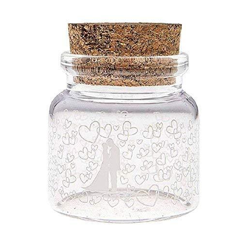 takestop® Bombonera bombonera con forma de ampolla para novios, 3 x 6 cm, juego de 12 unidades, de cristal con tapón de corcho, para arroz, novios, bodas, novias, peladillas, fiestas