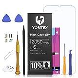 YONTEX Batteria per iPhone 6 2050mAh Alta Capacità, Capacità 10% Maggiore, Nuovo Batteria di Ricambio (Nero) con Kit Sostituzione, Adesivi