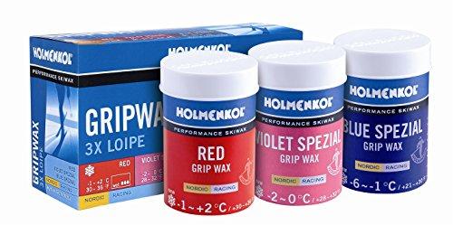Holmenkol Unisex – volwassenen 3 x Loipe Grip Wax skiwax, meerkleurig, 3x 45 gram