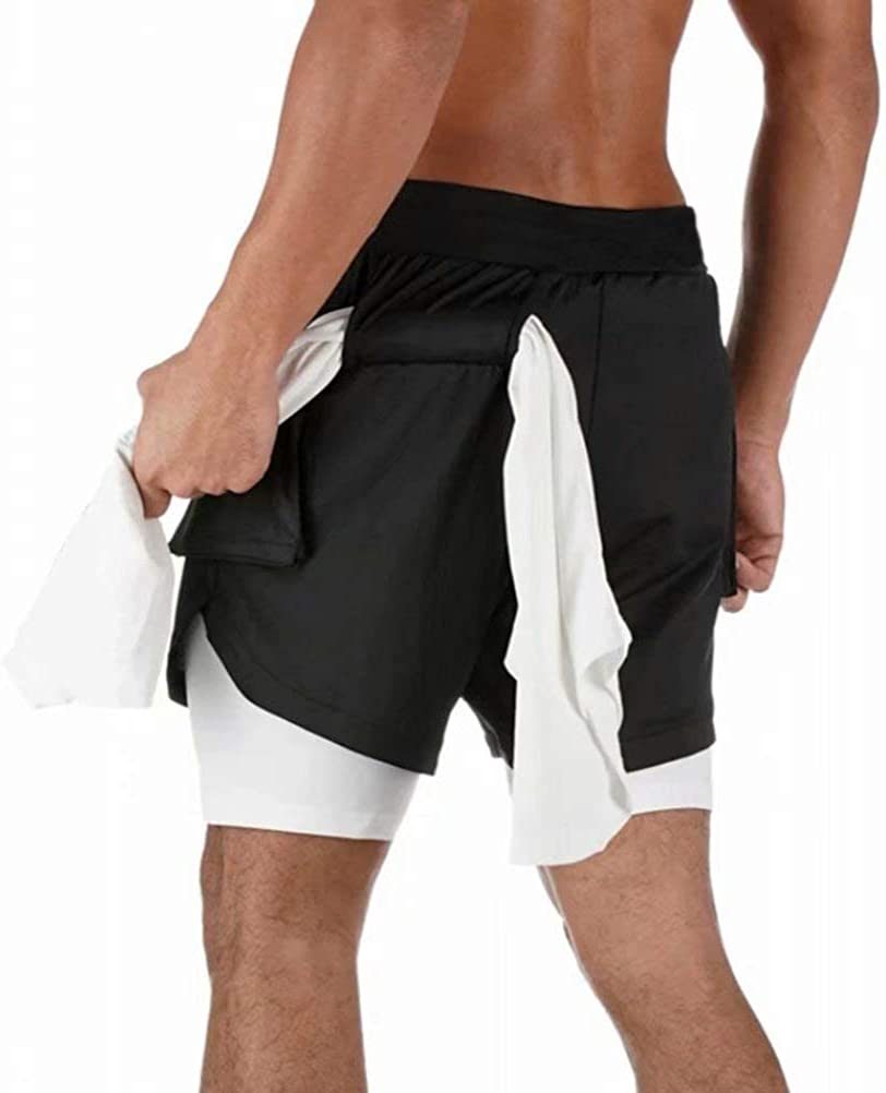 Musgneer Mens Workout 2 in 1 Shorts Gym Training Cargo Pockets Shorts with Towel Loop